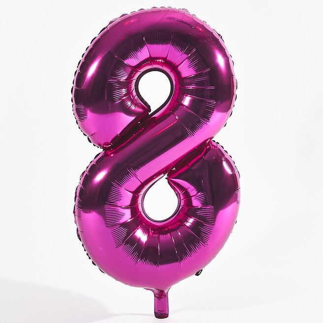 Pink Number 8 Foil Giant Helium Balloon (Deflated)