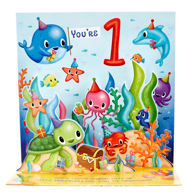 Boutique Collection 1st Birthday Pop-Up Card - Under The Sea