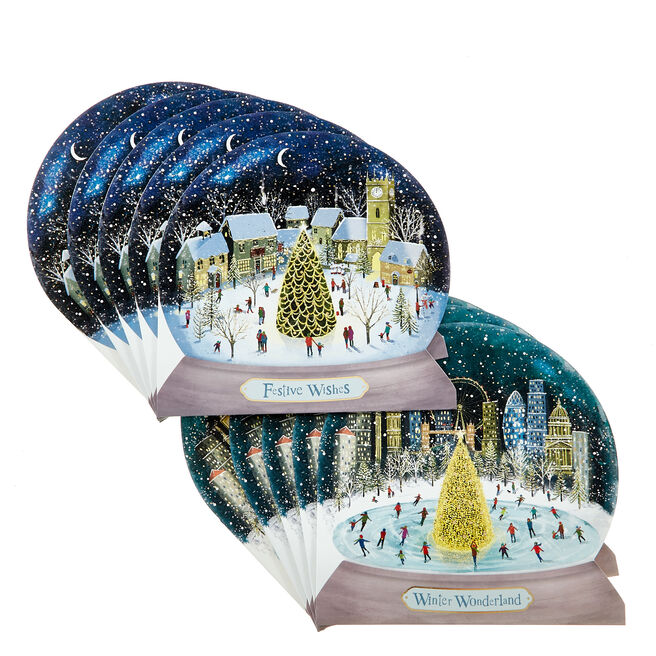 16 Snow Globe Charity Christmas Cards - 2 Designs