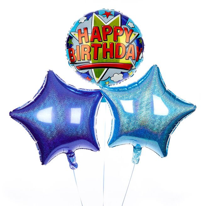 Pop Art Happy Birthday Balloon Bouquet - DELIVERED INFLATED!