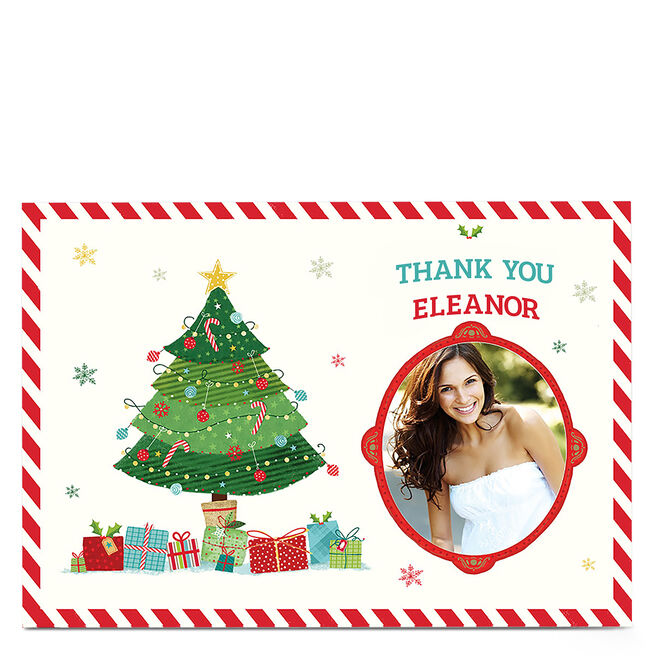Personalised Christmas Thank You Card - Presents Under The Tree
