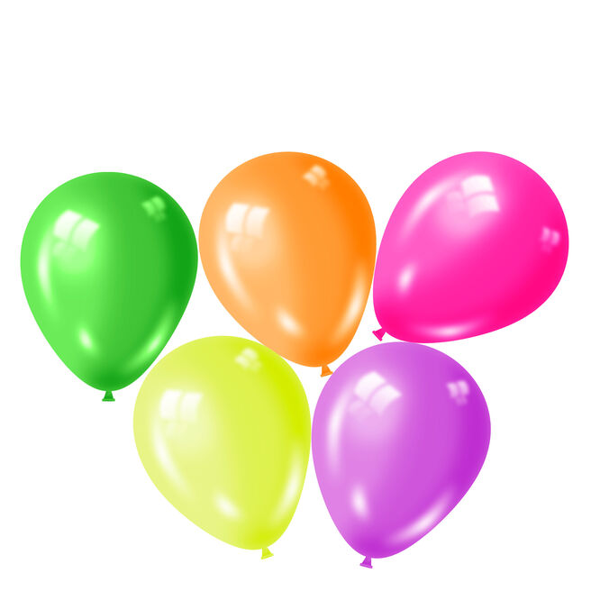 Assorted Neon Latex Balloons - Pack Of 50