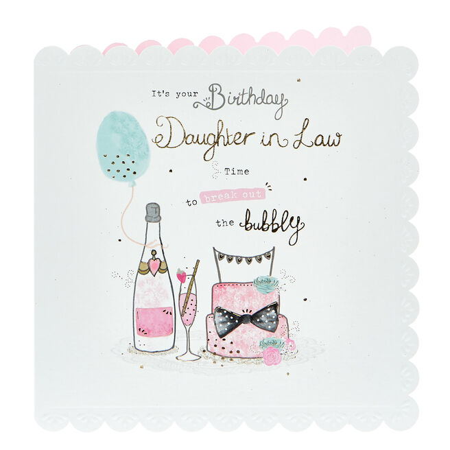 Birthday Card - Daughter In Law, Bubbly