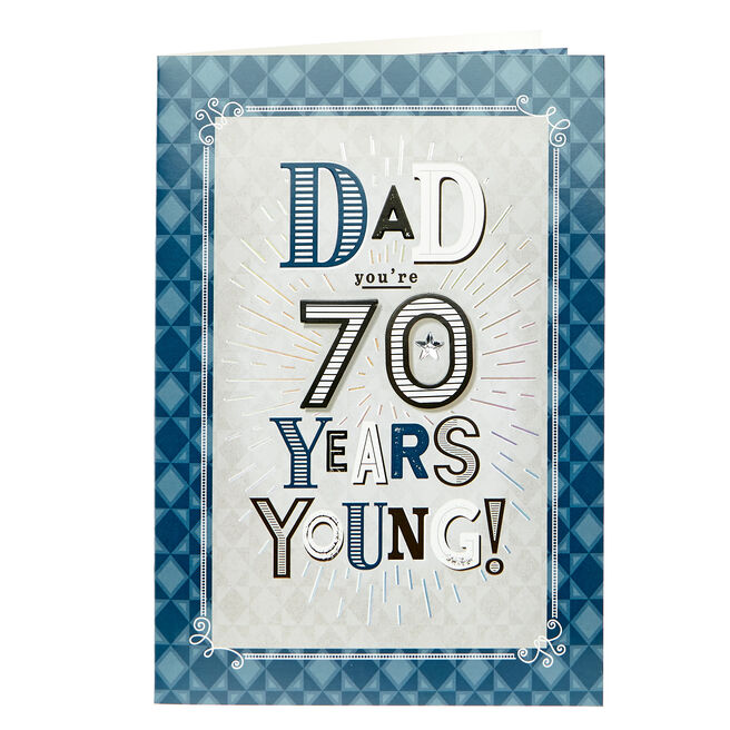 70th Birthday Card - Dad, Blue Diamonds