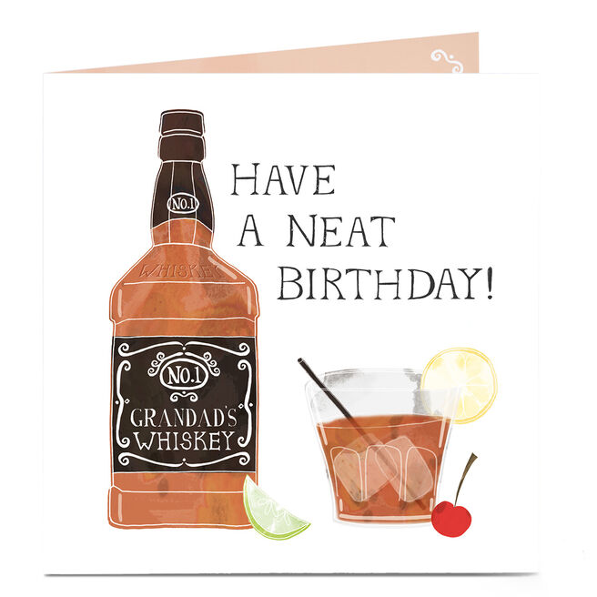 Personalised Birthday Card - Neat Whiskey [Grandad]