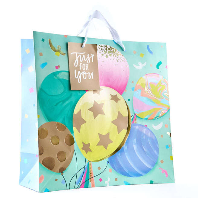 Giant Colourful Balloons Square Gift Bag