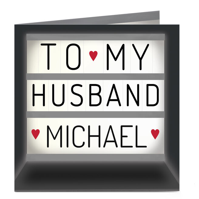 Personalised Card - Husband Light Box