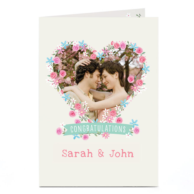 Photo Congratulations Card - Flowers Heart Frame