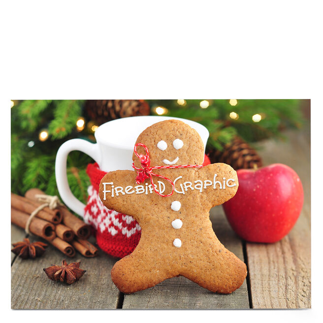 Personalised Business Christmas Card - Gingerbread Man