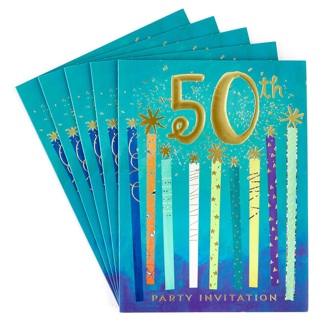 50th Birthday Party Invitations - Pack of 12