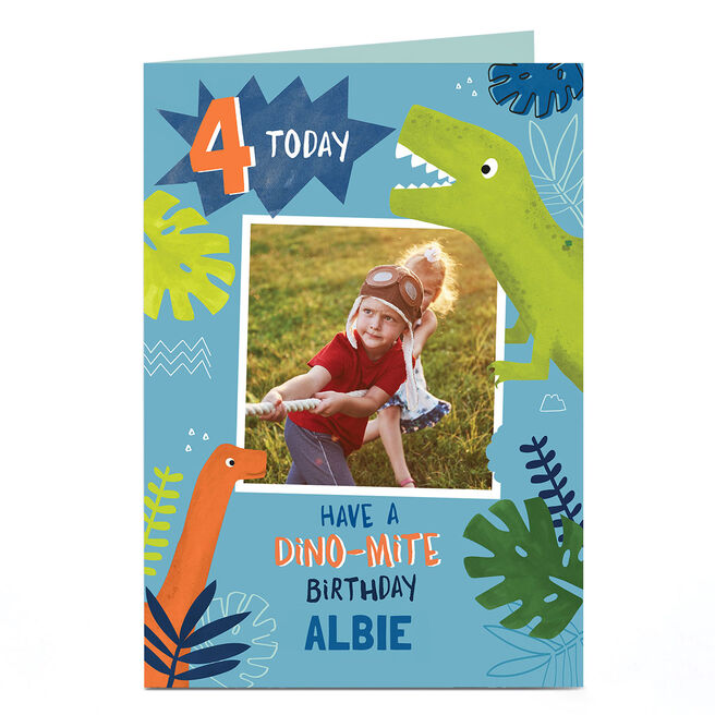 Personalised Birthday Photo Card - Dino-mite Birthday