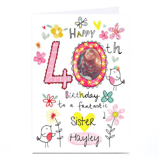 Photo 40th Birthday Card - Flowers & Birds