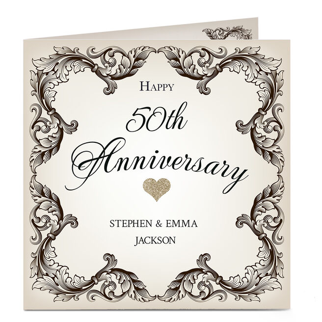 Personalised 50th Anniversary Card - Black and White