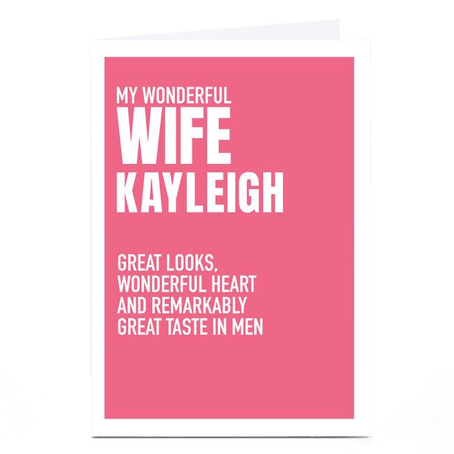 Personalised Wordee Card - Great Taste in Men