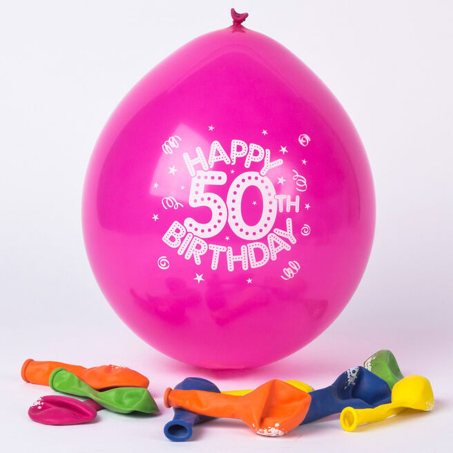 Multicoloured Age 50 Small Latex Balloons, Pack Of 10