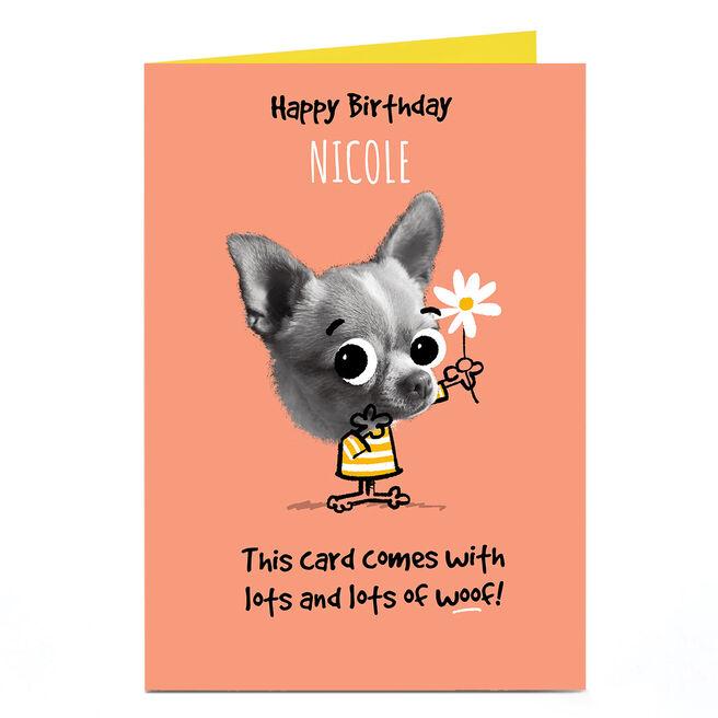 Personalised Pink Pet Shop Birthday Card - Lots Of Woof
