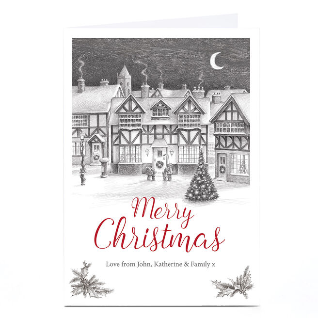 Personalised Christmas Card - Winter Village Sketch