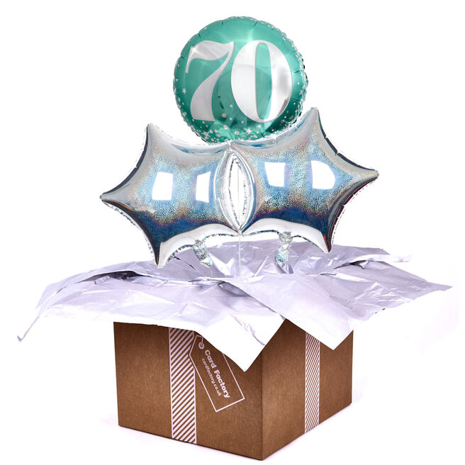 Mint Green & Silver 70th Birthday Balloon Bouquet - DELIVERED INFLATED!