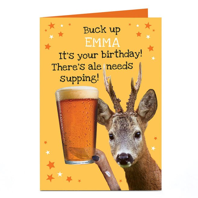 Personalised Heritage Wild Birthday Card - Buck Up