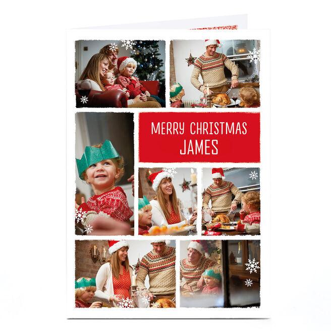 Photo Christmas Card - 7 Photos With Snowflakes