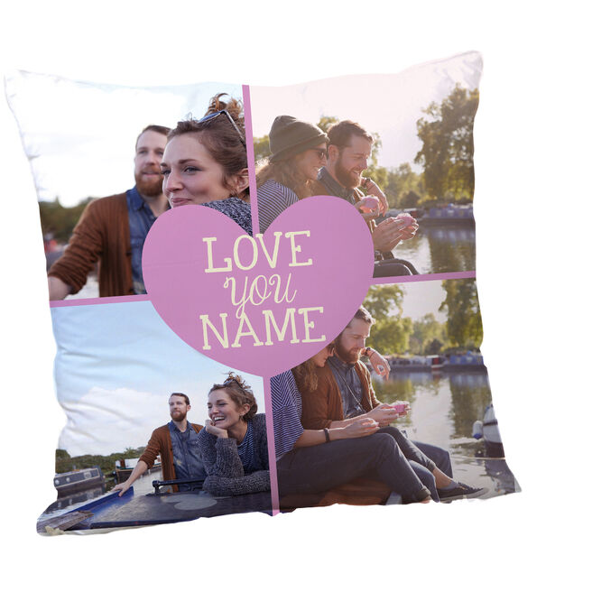 Multi Photo Valentine's Cushion - Love You, Any Name