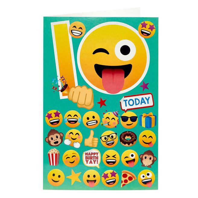 Emoji 10th Birthday Card
