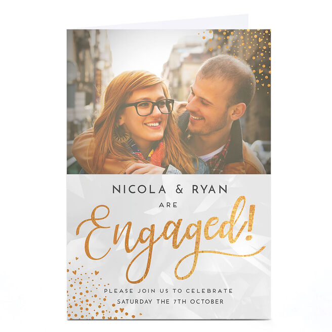 Photo Engagement Party Invitation - Gold Hearts