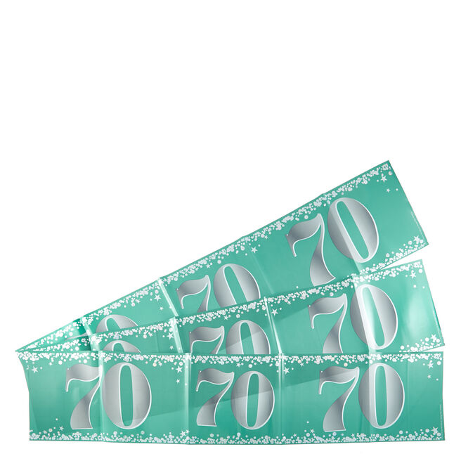 Holographic 70th Birthday Party Banners - Pack Of 3
