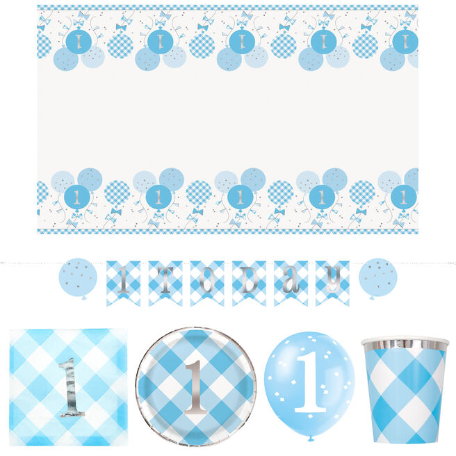 Blue Gingham 1st Birthday Party Tableware & Decorations Bundle - 55 Pieces