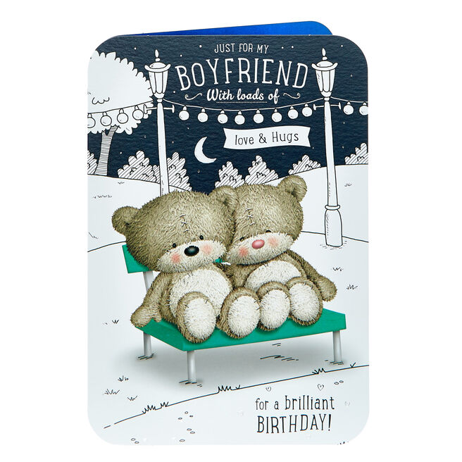 Hugs Bear Birthday Card - For My Boyfriend