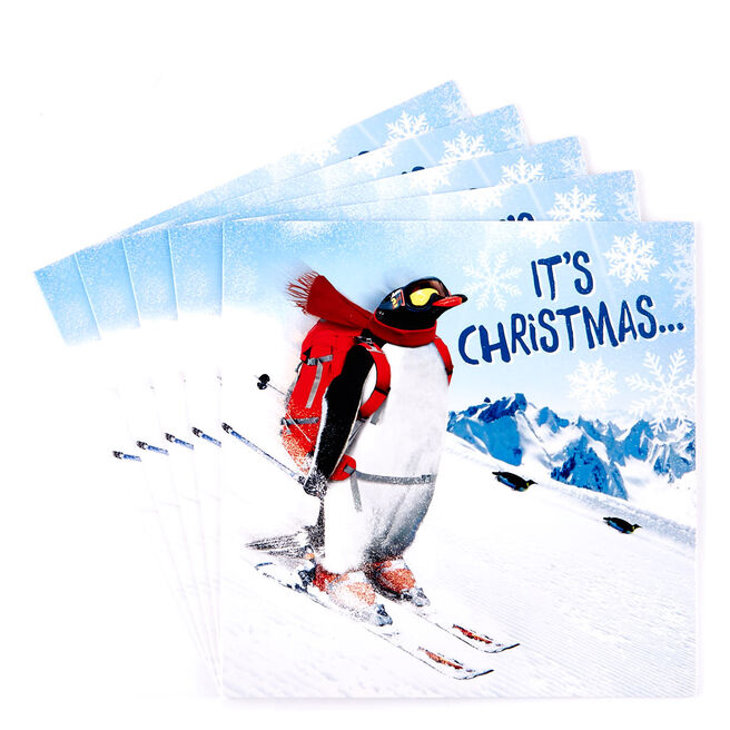 Charity Christmas Cards - Skiing Penguin Pack Of 10