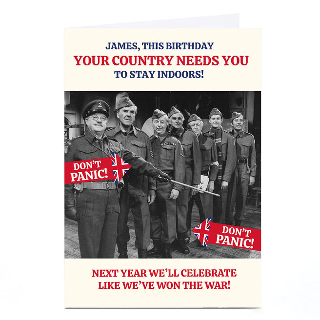 Personalised Dad's Army Birthday Card - Stay Indoors, Any Name