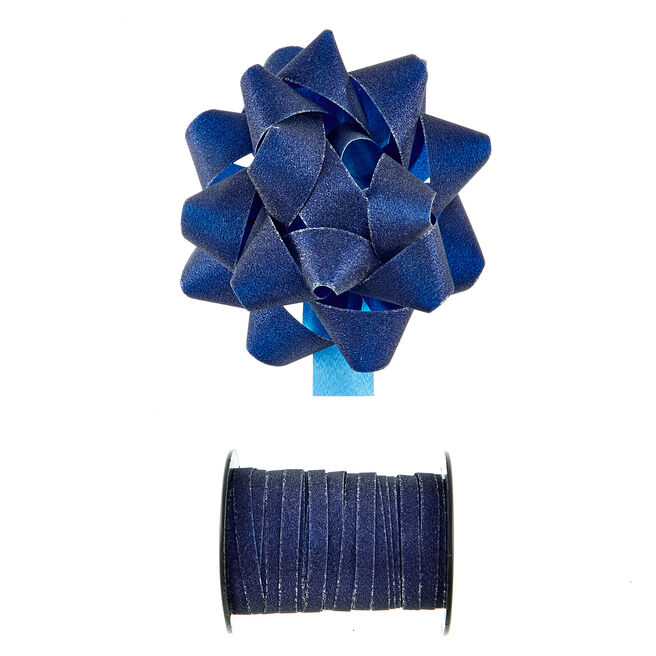 Navy Glitter Bow & Curling Ribbon