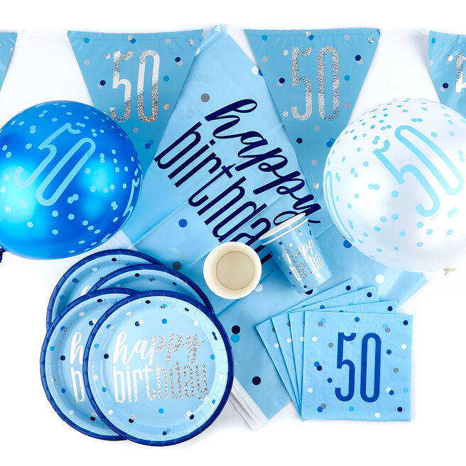 Blue 50th Birthday Party Tableware & Decorations Bundle - 78 Pieces