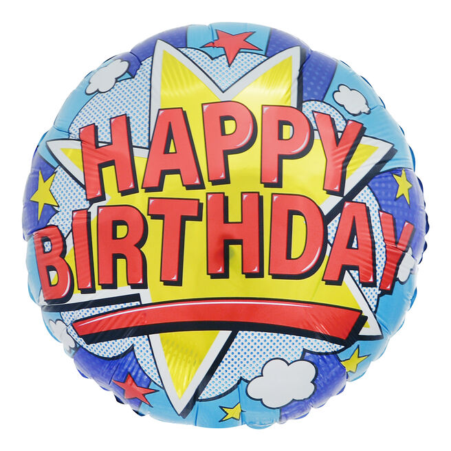 Pop Art Happy Birthday 18-Inch Foil Helium Balloon