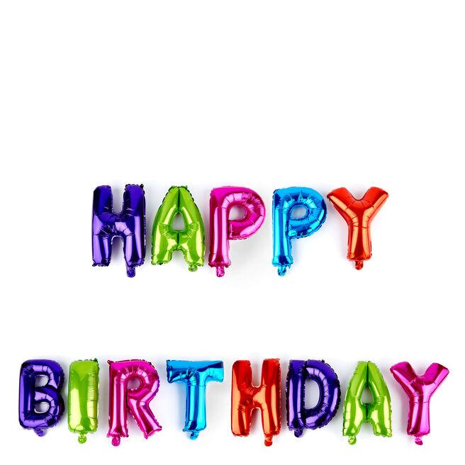 Happy Birthday Multicoloured Balloon Banner Kit