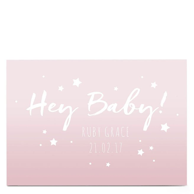 Personalised New Baby Card - Hey Baby! Pink