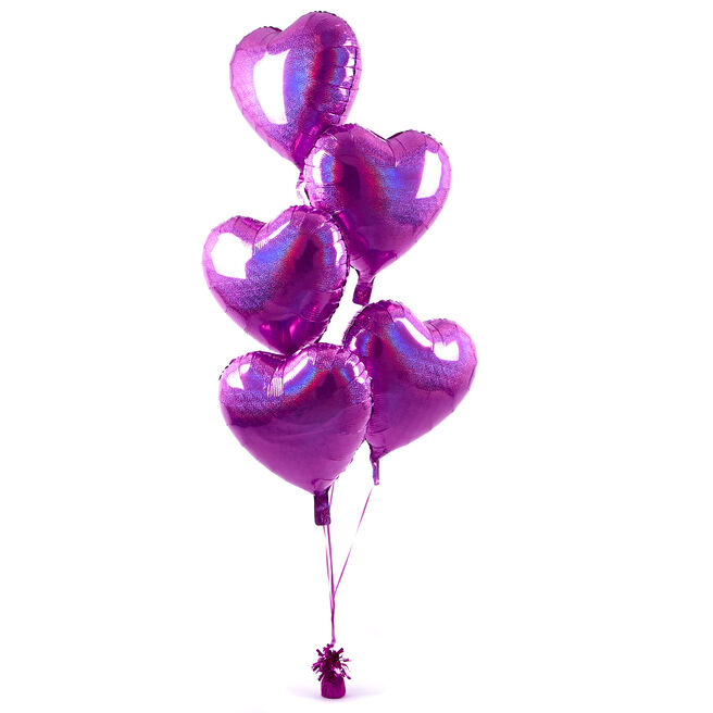 5 Pink Hearts Balloon Bouquet - DELIVERED INFLATED!