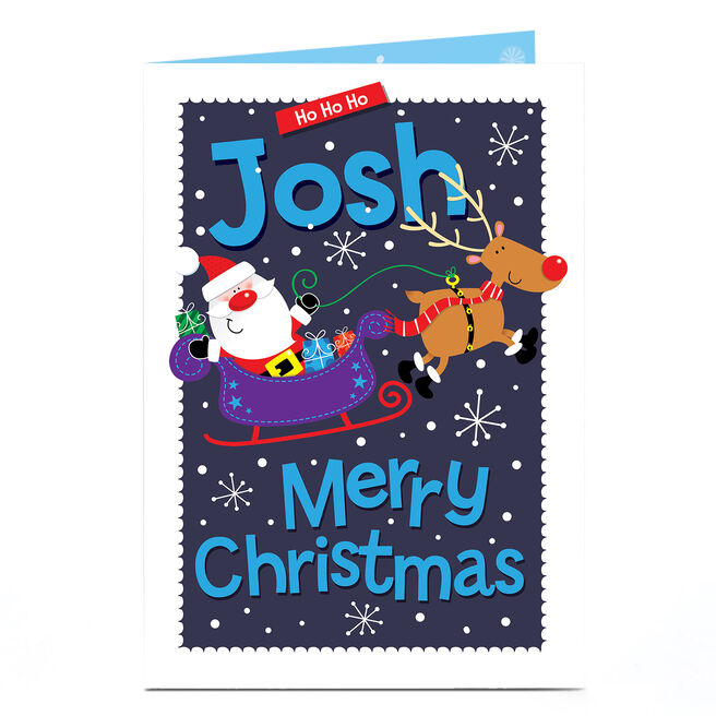 Personalised Christmas Card - Ho Ho Ho, Santa's Sleigh