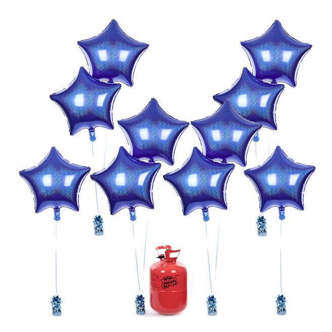 Party Balloon Bundle - 10 Royal Blue Stars & Helium