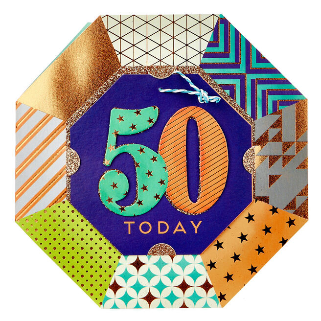 Exquisite Collection 50th Birthday Card & Hanging Sign