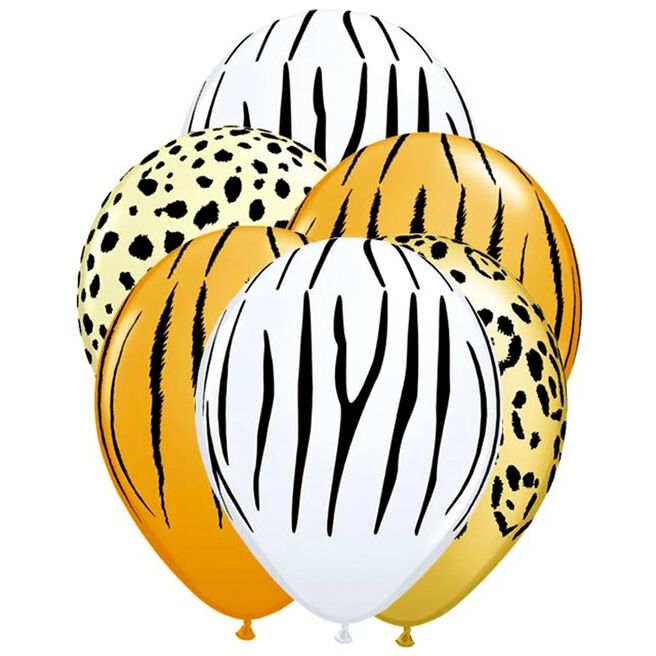 Assorted Animal Print Latex Balloons - Pack Of 6