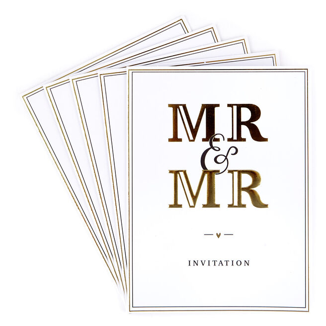 Wedding Invitations, Mr & Mr - Pack of 12