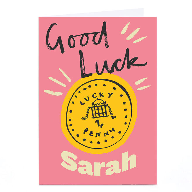 Personalised Ashley Le Quere Good Luck Card - Lucky Penny