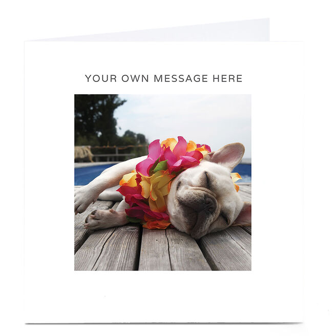 Personalised Card - Bulldog With Flowers