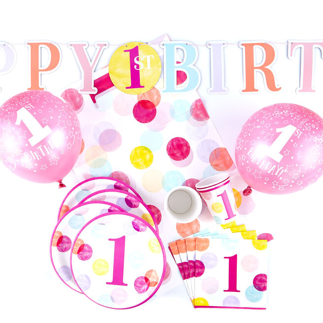 Pink 1st Birthday Party Tableware & Decoration Bundle - 71 Pieces