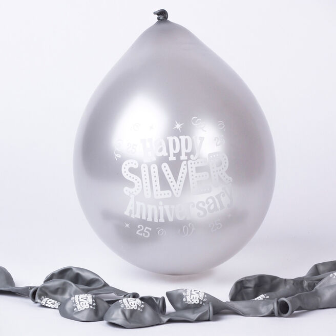 Silver Anniversary Small Air-fill Latex Balloons, Pack Of 10