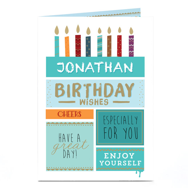Personalised Birthday Card - Birthday Wishes, Candles