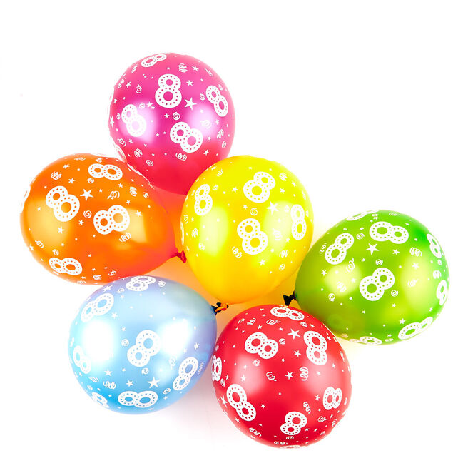 Multicoloured 8th Birthday Latex Balloons - Pack Of 6
