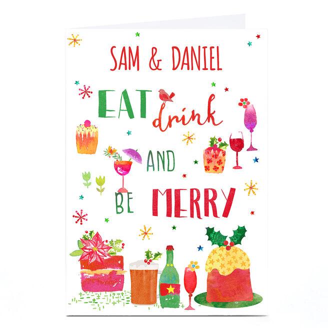 Personalised Nik Golesworthy Christmas Card - Eat Drink Be Merry